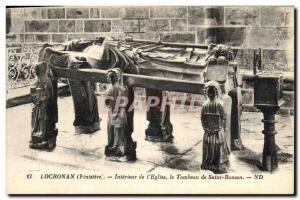 Old Postcard Locronan Interior of & # 39eglise the tomb of Saint Roman