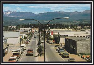 Double sided street showing Royal Bank and Store fronts in Smithers, B.C., Ca...