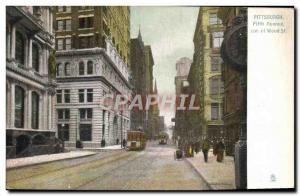 Old Postcard Pittsburg Fifth Avenue cor of Wood St Tram