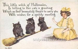 Halloween Postcard Old Vintage Post Card 3 cats, little Witch Unused
