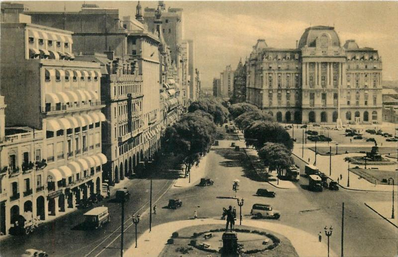 Argentina L. N. Alem Avenue and Post Office Building Buenos Aires postcard