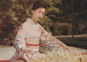 Woman Playing Koto Japan Vintage postcard