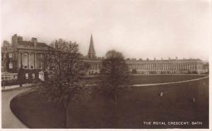 The Royal Crescent, Bath, England, Early Real Photo Postcard, Unused