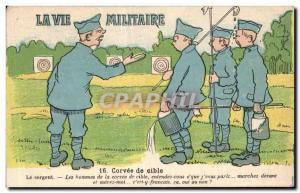 Old Postcard Fantasy Humor militaria military life Corvee target