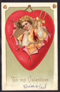 To My Valentine Boy Heart Wishbone Postcard 4161