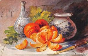 Mary Golay~Peeled Sectioned Orange~Sharp Knife~Water Carafe~GA Novelty Art