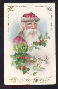 CHRISTMAS GREETINGS SANTA CLAUS PINK ROBE GELCOAT ANTIQUE