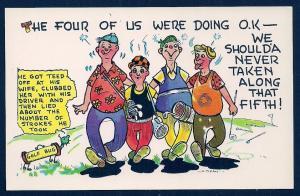Four Drunk Golfers w/walking golf bag unused c1950's