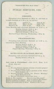 Coggon-Prairiesburg-Burliingham IA~Methodist Gruwell Service~Tract~Epworth~c1904