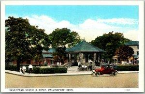 Wallingford, CT Postcard Band Stand, Near Railroad Depot Street View 1930s