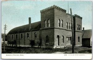 1912 Chariton, Iowa Postcard Armory Building Street View Williams Photoette #523