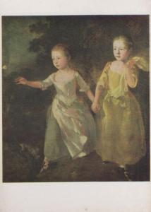 Gainsborough The Painters Daughters Butterfly National Gallery Painting Postcard
