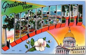 MISSISSIPPI Large Letter Postcard State Capitol & Flower Magnolia Linen c1940s