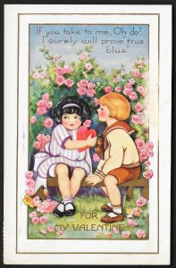 For My Valentine Boy & Girl On Bench With Flowers Used c1923