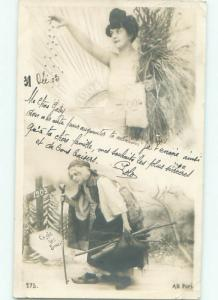 rppc 1903 New Year OLD WOMAN WITH YEAR 1903 & PRETTY GIRL WITH 1904 YEAR AC8027