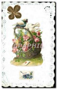 Old Postcard Fancy Embroidery Flowers Dove