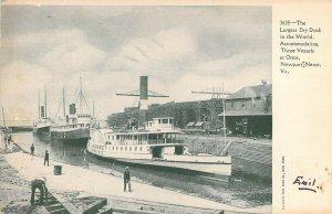 Largest Drydock In The World, Newport News, VA Postcard. Handles 3 Vessels