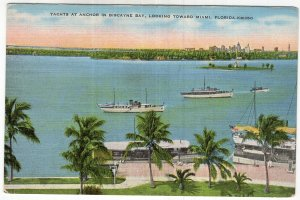 Yachts At Anchor In Biscayne Bay, Looking Toward Miami, Florida