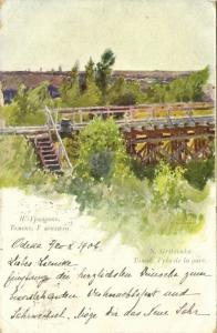 russia, TOMSK Томск, Near the Railway Station, Signed Gritzenko (1906) Red Cross