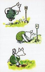 Winnie The Pooh Piglet Digging a Hole Book Postcard