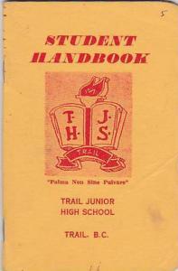Trail , B.C. , Canada , 1960; Student Handbook , Trail Junior High School