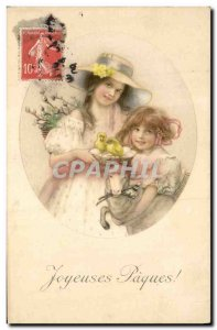Old Postcard Fantasy Illustrator Enafnts Lamb Easter Chicks