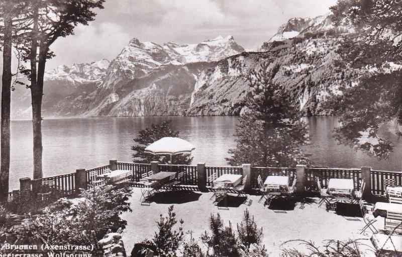 RP; LUCERNE, Switzerland, 1920-1940s; Brunnen (Axenstrasse), Seeterrasse Wolf...