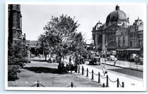 *Swanston Street Melbourne Australia Street View Vintage Real Photo Postcard C42