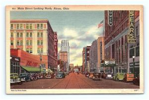 Postcard OH Akron Main Street North Street View Old Cars Stores Linen G06