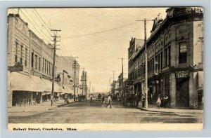 Crookston MN-Minnesota, Robert Street, Bank, Vintage Postcard