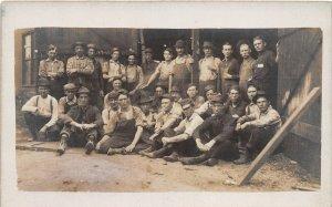 F82/ Occupational RPPC Postcard c1910 Overalls Workers Railroad? Men 23