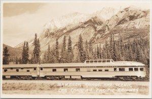 Sawback Range AB Scenic Car Canadian Pacific Railway Harmon RPPC Postcard G1