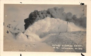 F80/ Windom Minnesota RPPC Postcard c1910 Rotary Locomotive Snow