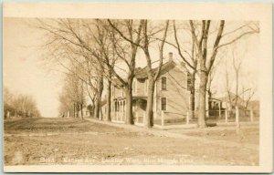 BLUE MOUND, Kansas RPPC Photo Postcard Kansas Avenue Looking West c1920s