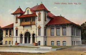 SANTA ANA, CA California     PUBLIC LIBRARY     c1910's Postcard