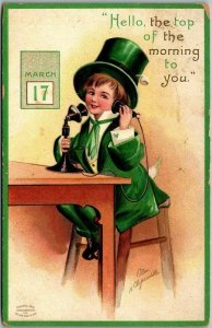 1910 Artist-Signed CLAPSADDLE St Patrick's Day Postcard Boy Green Suit Telephone