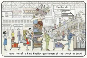 Heathrow Airport London Check In Desk Too Much Luggage Comic Humour Postcard