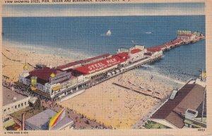 ATLANTIC CITY, New Jersey, 1930-1940's; View Showing Steel Pier, Ocean And Bo...