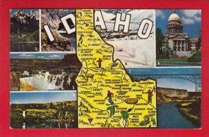 ID01 Idaho State Map, Multiviews, Vintage Postcard