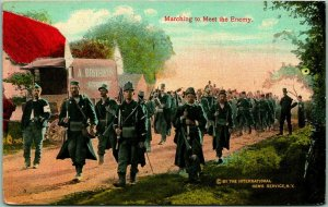 Vintage 1910s World War I WWI Postcard Marching to meet the Enemy UNUSED