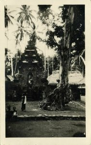 indonesia, BALI, Entrance to Hindu Temple (1920s) RPPC Postcard