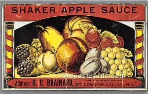 Old Vintage Shaker Post Card Apple Sauce Mount Lebanon, New York, NY, USA Unused