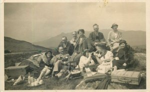 Social History Postcard mountain area nature outing picnic group picture 1936