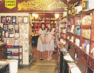 Staff at T Shirts Sweets Teas Candy at Haworth Confectioners Yorkshire Postcard