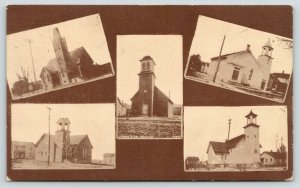 Butler Indiana~Church of God~Church of Christ~Three Others~Sepia Multiview~1911