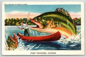 Fort Frances ON Fishing Great~Exaggerated Walleye Sneaks Up on Rainy River~Linen