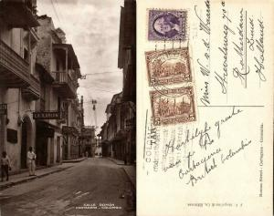 colombia, CARTAGENA, Calle Román, La Ilusion (1920s) RPPC Mixed Franking USA