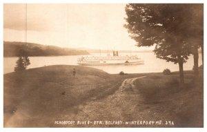 Maine Winterport , Steamer Belfast in Penobscot River , RPC