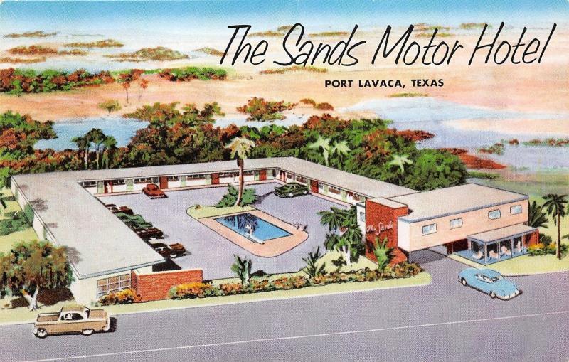 Port Lavaca Texas Sands Motor Hotel 1960s Postcard