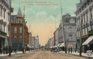 PETERBOROUGH , Ontario , 1913 ; George Street , South From Hunter Street